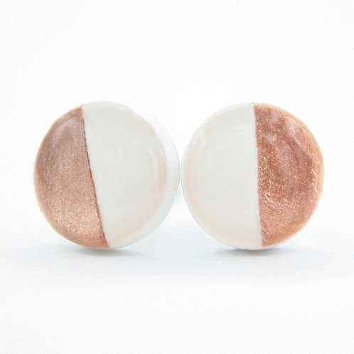 White and Rose Gold Stud Earrings