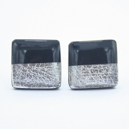 Black and Silver Square Stud Earrings