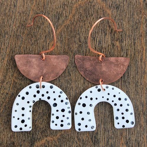 Modern Polka Dot and Copper Arch U Dangle Earrings
