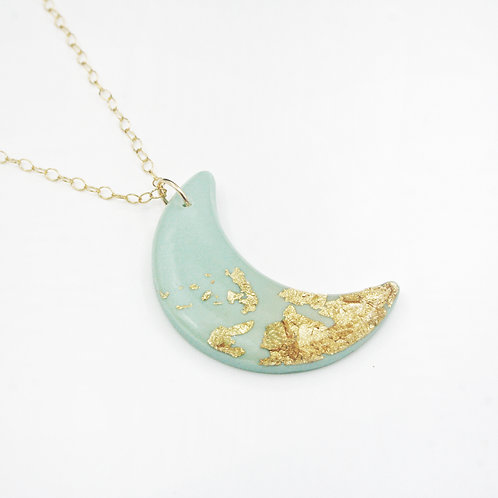 Mint and Gold Moon Necklace