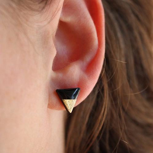 Black & Gold Triangle Stud Earrings
