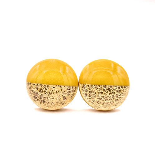 Mustard Yellow and Gold Round Stud Earrings