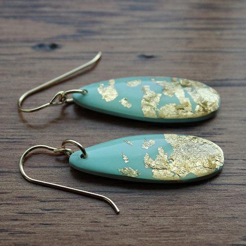 Something Blue Long Oval Dangle Earrings