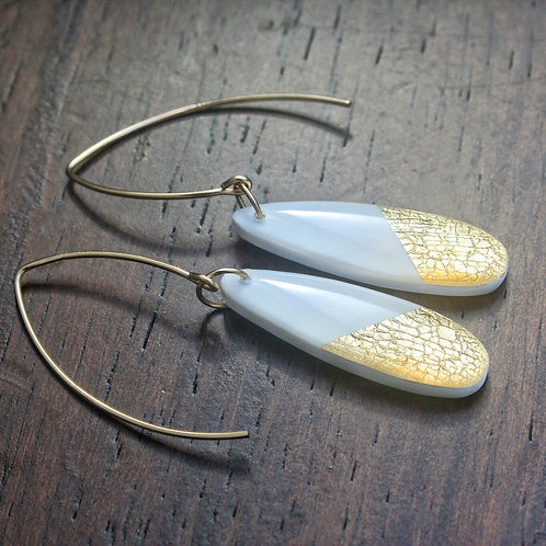 Love oval white and gold dangles