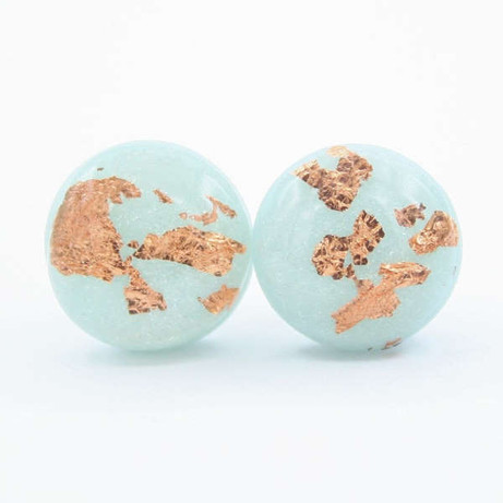 Dainty Light Blue and Copper Flake Stud Earrings