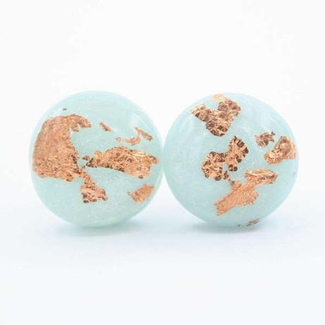 Dainty Light Blue and Copper Flake Stud Earrings