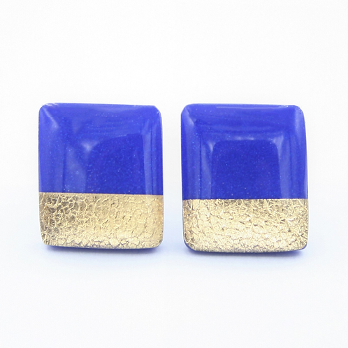 Cobalt Blue and Gold Stud Earrings
