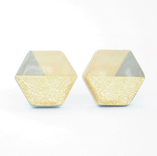 Gold, Gray, and Beige Hexagon Stud Earrings
