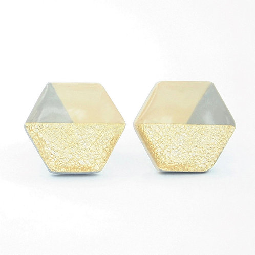 Beige stud earrings with gray and gold foil, hexagon studs