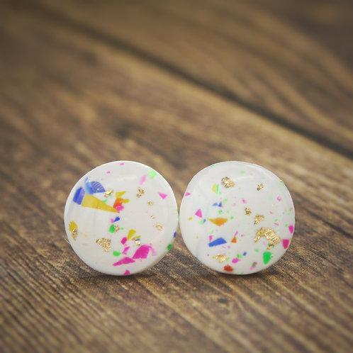 Rainbow Confetti Studs