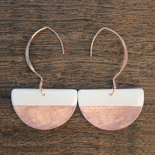 Rose gold statement earrings, white and rose gold drop earrings, geometric semicircle earrings