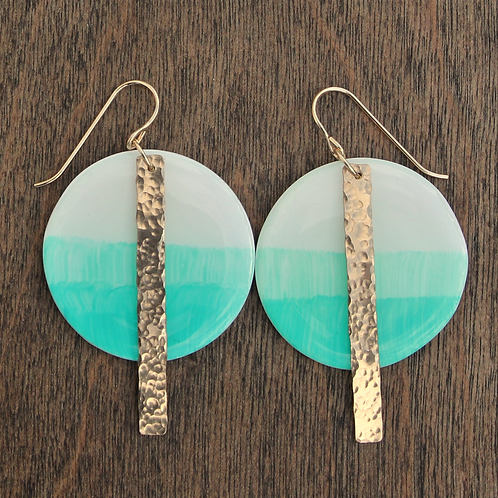 Turquoise Blue and 14k Gold Disc Dangle Earrings