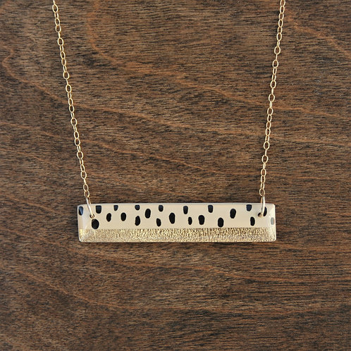 Polka Dot and 14k Gold Bar Pendant Necklace