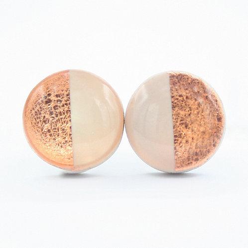 Beige and Copper Stud Earrings