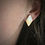 Thumbnail: Pearl and gold diamond shaped stud earrings