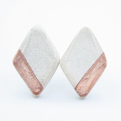 White Pearl and Rose Gold Diamond Shaped Stud Earrings