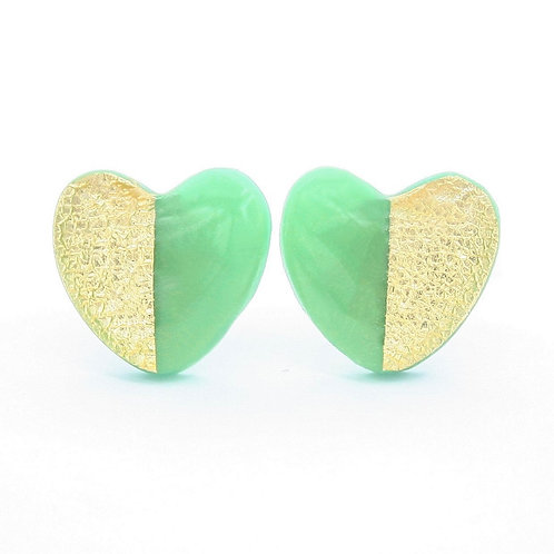 Green and gold heart stud earrings, titanium earrings, hypoallergenic studs
