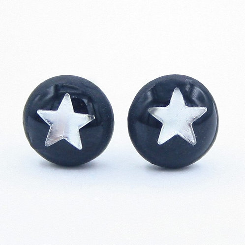 Dainty Black and Silver Star Stud Earrings