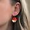 Thumbnail: Red and 14k Gold Hexagon Dangle Earrings