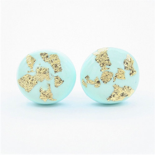 Dainty Mint Green and Gold Flake Stud Earrings