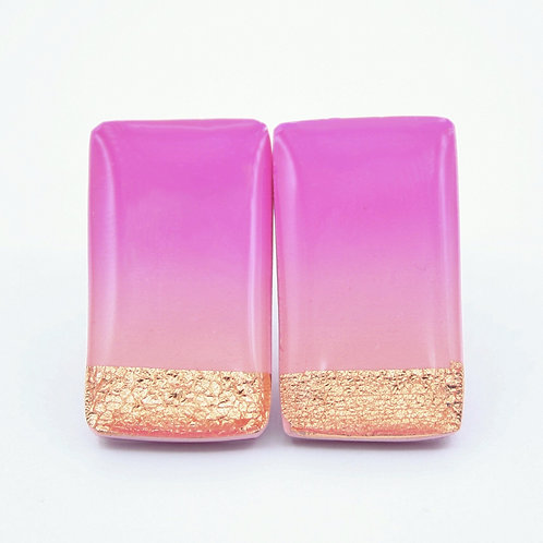 Pink Ombre and Copper Stud Earrings