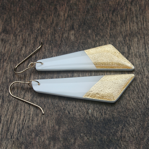 Long White and Gold Geometric Earrings