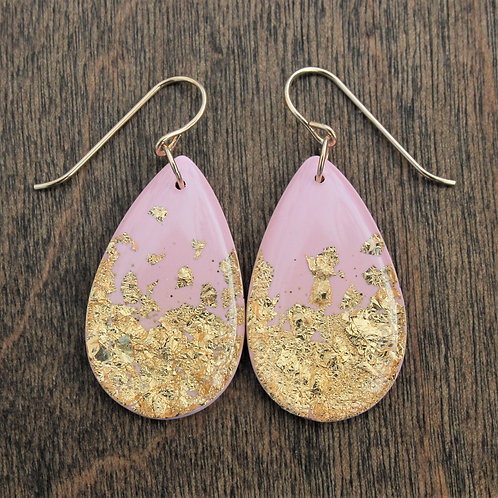 Large Pink and Gold Flake Drop Earrings