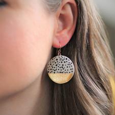 Large Polka Dot Gold Disc Earrings
