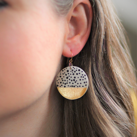 Large Polka Dot Gold Disc Earrings