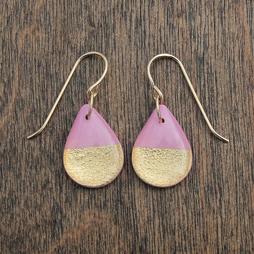Pink and 14k Gold Drop Earrings