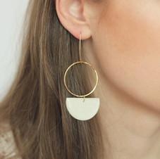 Large Gold Hoop & White Semicircle Earrings