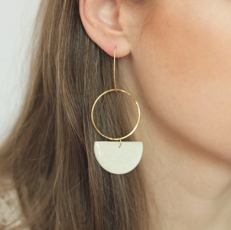 Large Gold Hoop & White Semicircle Earrings