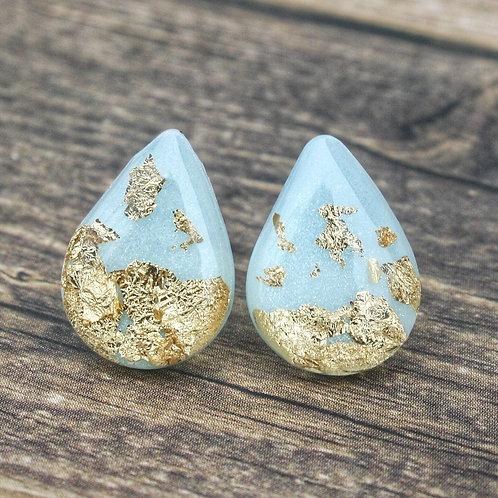 Blue Gold Flake Drop Studs