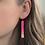 Thumbnail: Hot Pink and 14k Gold Bar Dangle Earrings
