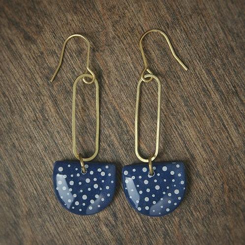 Navy Blue and White Polka Dot Earrings