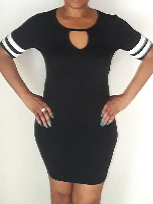 Double Stripe Keyhole Short Sleeve Mini Dress