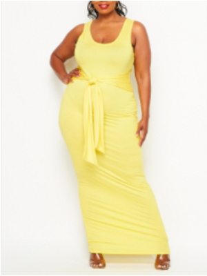 Yellow Sleeveless Front Tie Tank Dress
