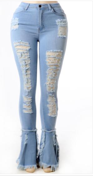 Ripped Detail Flare Denim Pants