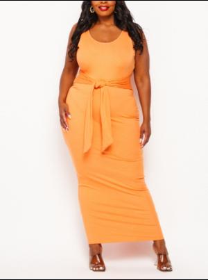 Tangerine Sleeveless Front Tie Tank Dress
