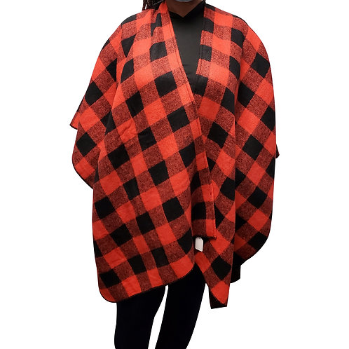 Red/Black Checkered Wrap Shawl