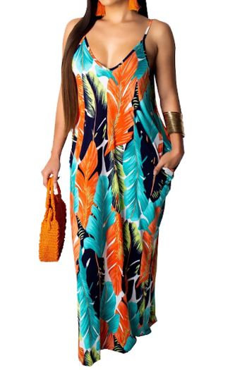 Orange Leaf Printed Spaghetti Strap Maxi Dress
