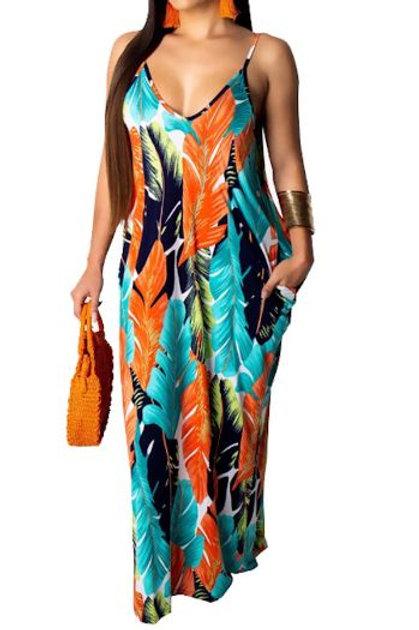 Orange Leaf Printed Spaghetti Strap Maxi Dress