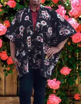Metallic Floral Print Kimono