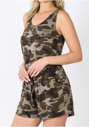 Camouflage Sleeveless Romper with Pockets