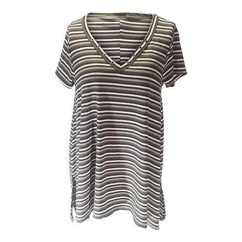 Stripped V-Neck Short Sleeve Top