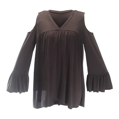Cold Shoulder Ruffled Sleeve Top