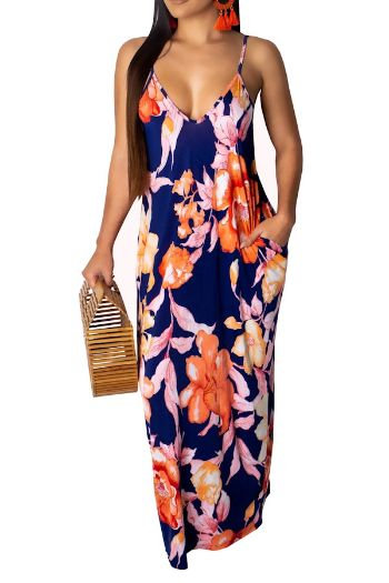 Blue Leaf Printed Spaghetti Strap Maxi Dress
