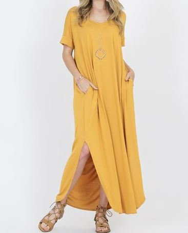 Viscose Side Slit Maxi Dress with Pockets