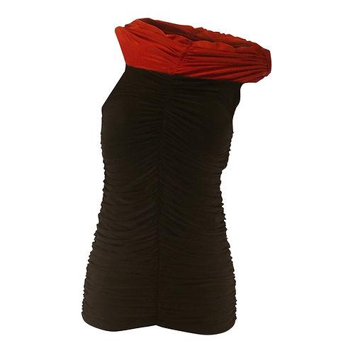 Off-Shoulder Gathered Front Short Sleeve Top