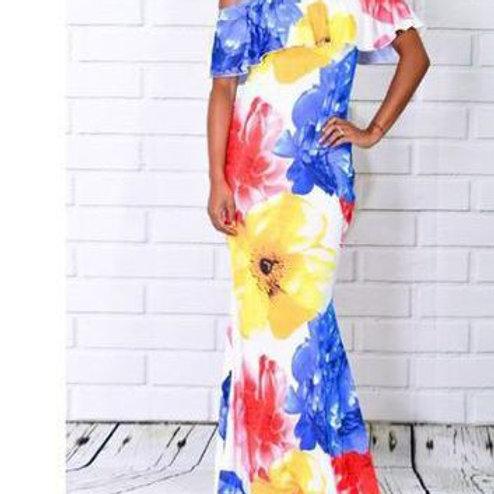 Off Shoulder Floral Print Maxi Dress